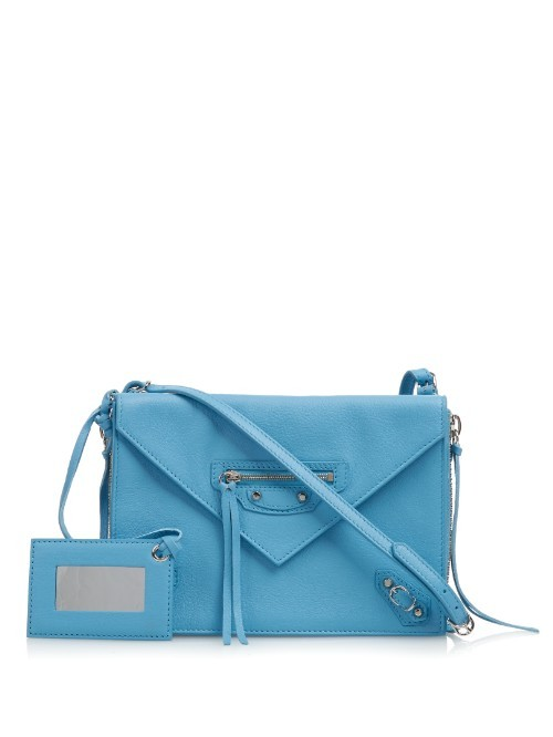 Papier Classic Zip Around Leather Cross Body Bag - predominant colour: pale blue; occasions: casual, creative work; type of pattern: standard; style: shoulder; length: across body/long; size: small; material: leather; pattern: plain; finish: plain; season: a/w 2015; wardrobe: highlight