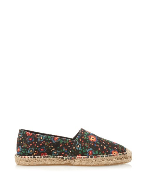 Étoile Cana Floral Print Espadrilles - predominant colour: black; occasions: casual; material: fabric; heel height: flat; toe: round toe; finish: plain; pattern: florals; style: espadrilles; multicoloured: multicoloured; season: a/w 2015; wardrobe: highlight