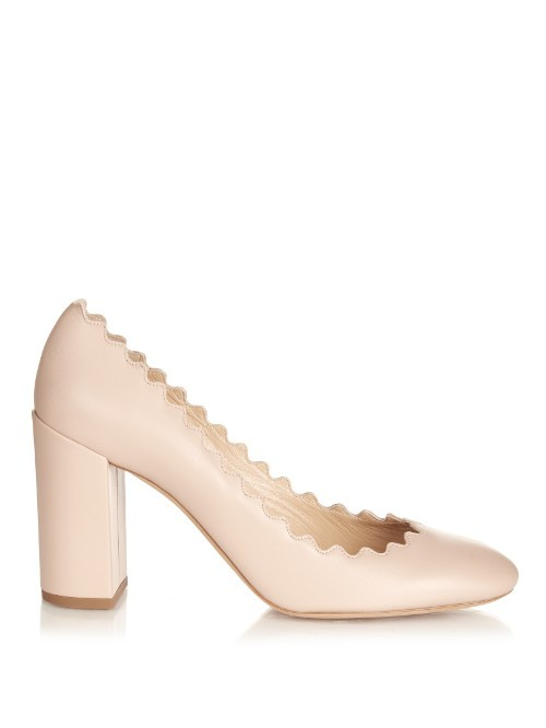 Lauren Scallop Edged Block Heel Leather Pumps - predominant colour: blush; occasions: evening, occasion; material: faux leather; heel height: high; heel: block; toe: round toe; style: courts; finish: plain; pattern: plain; season: a/w 2015; wardrobe: event