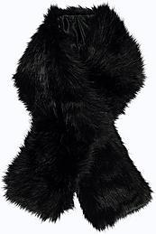 Oversize Long Faux Fur Scarf Black - predominant colour: black; occasions: evening; type of pattern: standard; size: standard; material: faux fur; pattern: plain; embellishment: fur; style: stole; season: a/w 2015; wardrobe: event