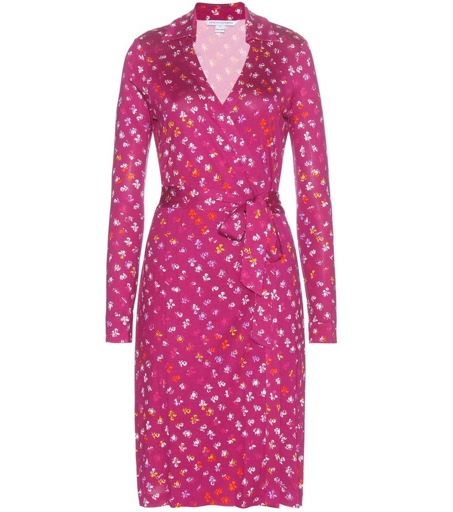 New Jeanne Two Printed Silk Wrap Dress - style: faux wrap/wrap; neckline: low v-neck; waist detail: belted waist/tie at waist/drawstring; secondary colour: pink; predominant colour: hot pink; occasions: evening, occasion; length: just above the knee; fit: body skimming; fibres: silk - 100%; sleeve length: long sleeve; sleeve style: standard; pattern type: fabric; pattern size: standard; pattern: patterned/print; texture group: jersey - stretchy/drapey; season: a/w 2015; wardrobe: event