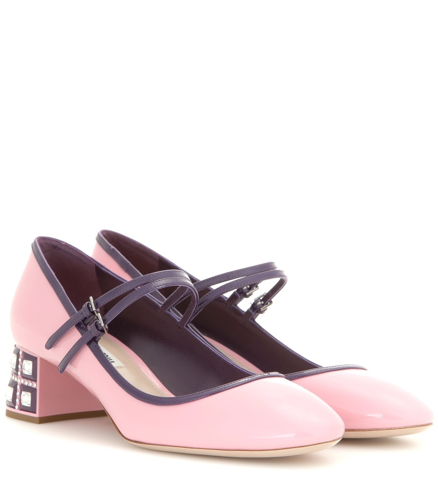 Embellished Mary Jane Patent Leather Pumps - predominant colour: hot pink; secondary colour: purple; occasions: evening; material: leather; heel height: mid; heel: block; toe: round toe; style: mary janes; finish: plain; pattern: colourblock; season: a/w 2015; wardrobe: event