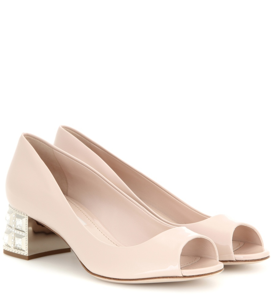 Embellished Patent Leather Open Toe Pumps - predominant colour: nude; occasions: evening, occasion; material: leather; heel height: mid; heel: block; toe: open toe/peeptoe; style: courts; finish: patent; pattern: plain; season: a/w 2015