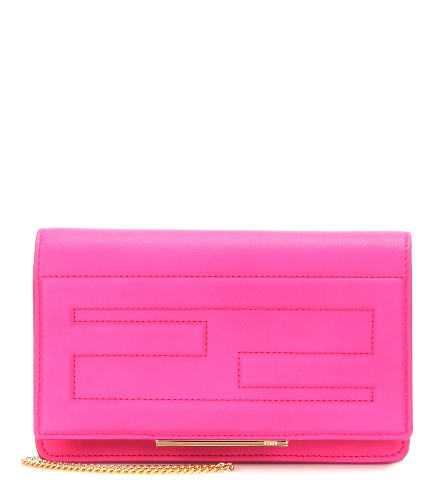 Tube Leather Shoulder Bag - predominant colour: hot pink; occasions: evening, occasion; type of pattern: standard; style: clutch; length: hand carry; size: small; material: leather; pattern: plain; finish: fluorescent; season: a/w 2015; wardrobe: event