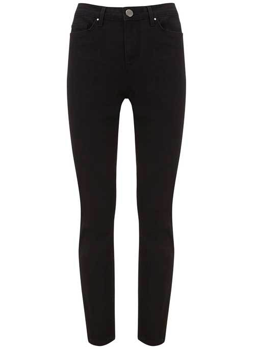 Asheville Black High Waist Skinny Jean - style: skinny leg; length: standard; pattern: plain; waist: high rise; predominant colour: black; occasions: casual, creative work; fibres: cotton - stretch; jeans detail: dark wash; texture group: denim; pattern type: fabric; season: a/w 2015; wardrobe: basic