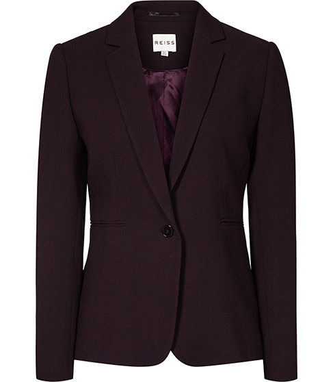 Camila Jacket Textured Blazer - pattern: plain; style: single breasted blazer; collar: standard lapel/rever collar; predominant colour: aubergine; occasions: work; length: standard; fit: tailored/fitted; fibres: wool - 100%; sleeve length: long sleeve; sleeve style: standard; collar break: medium; pattern type: fabric; texture group: woven light midweight; season: a/w 2015; wardrobe: investment