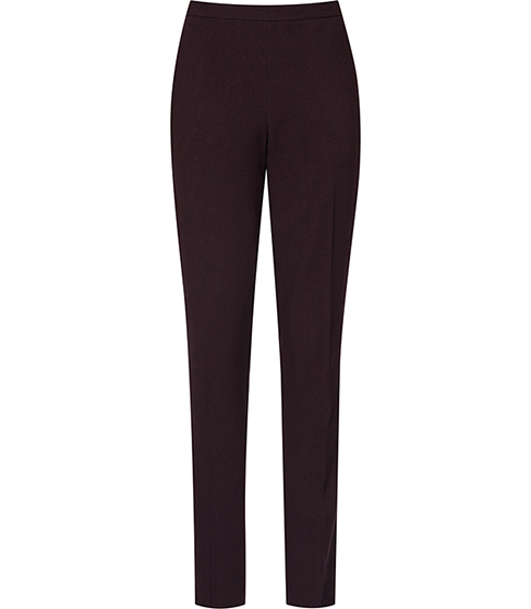 Camila Trouser Textured Tailored Trousers - length: standard; pattern: plain; waist: high rise; predominant colour: aubergine; occasions: work; fibres: wool - 100%; hip detail: fitted at hip (bottoms); fit: straight leg; pattern type: fabric; texture group: woven light midweight; style: standard; season: a/w 2015