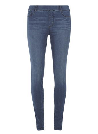 Womens Mid Wash 'eden' Ultra Soft Jeggings Blue - length: standard; pattern: plain; style: jeggings; pocket detail: traditional 5 pocket; waist: mid/regular rise; predominant colour: denim; occasions: casual; fibres: cotton - stretch; jeans detail: whiskering, shading down centre of thigh; texture group: denim; pattern type: fabric; season: a/w 2015; wardrobe: basic