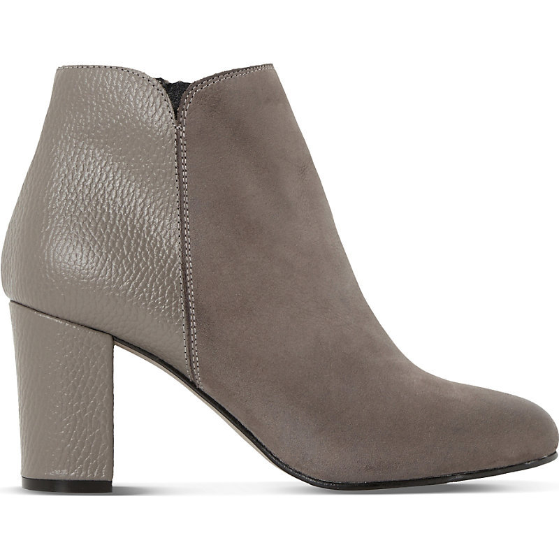 Palleton Leather Ankle Boots, Women's, Eur 41 / 8 Uk Women, Grey Nubuck - predominant colour: mid grey; occasions: casual, evening, creative work; material: leather; heel height: high; heel: block; toe: round toe; boot length: ankle boot; style: standard; finish: plain; pattern: plain; season: a/w 2015; wardrobe: highlight