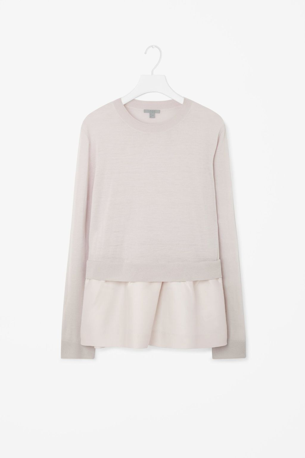 Knitted Top With Contrast Skirt - neckline: round neck; pattern: plain; style: shirt; predominant colour: ivory/cream; occasions: casual, creative work; length: standard; fibres: wool - 100%; fit: body skimming; sleeve length: long sleeve; sleeve style: standard; texture group: knits/crochet; pattern type: knitted - fine stitch; season: a/w 2015; wardrobe: basic