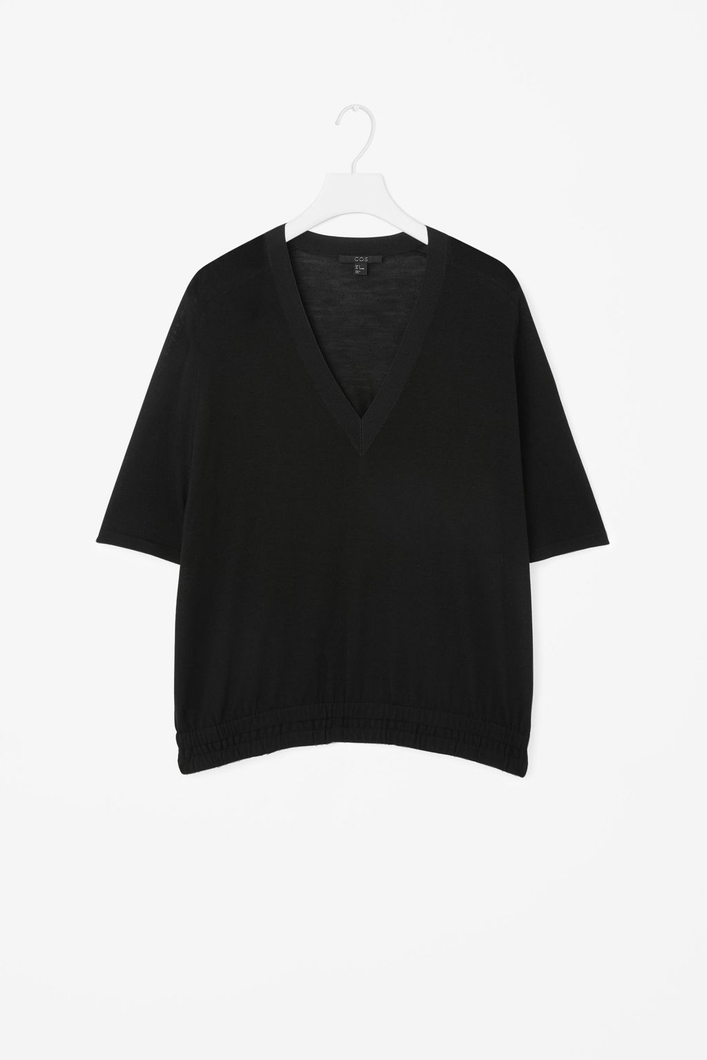 Elasticated Waist Knit Top - neckline: low v-neck; pattern: plain; predominant colour: black; occasions: casual, creative work; length: standard; style: top; fibres: wool - 100%; fit: loose; sleeve length: half sleeve; sleeve style: standard; texture group: knits/crochet; pattern type: knitted - fine stitch; season: a/w 2015; wardrobe: basic