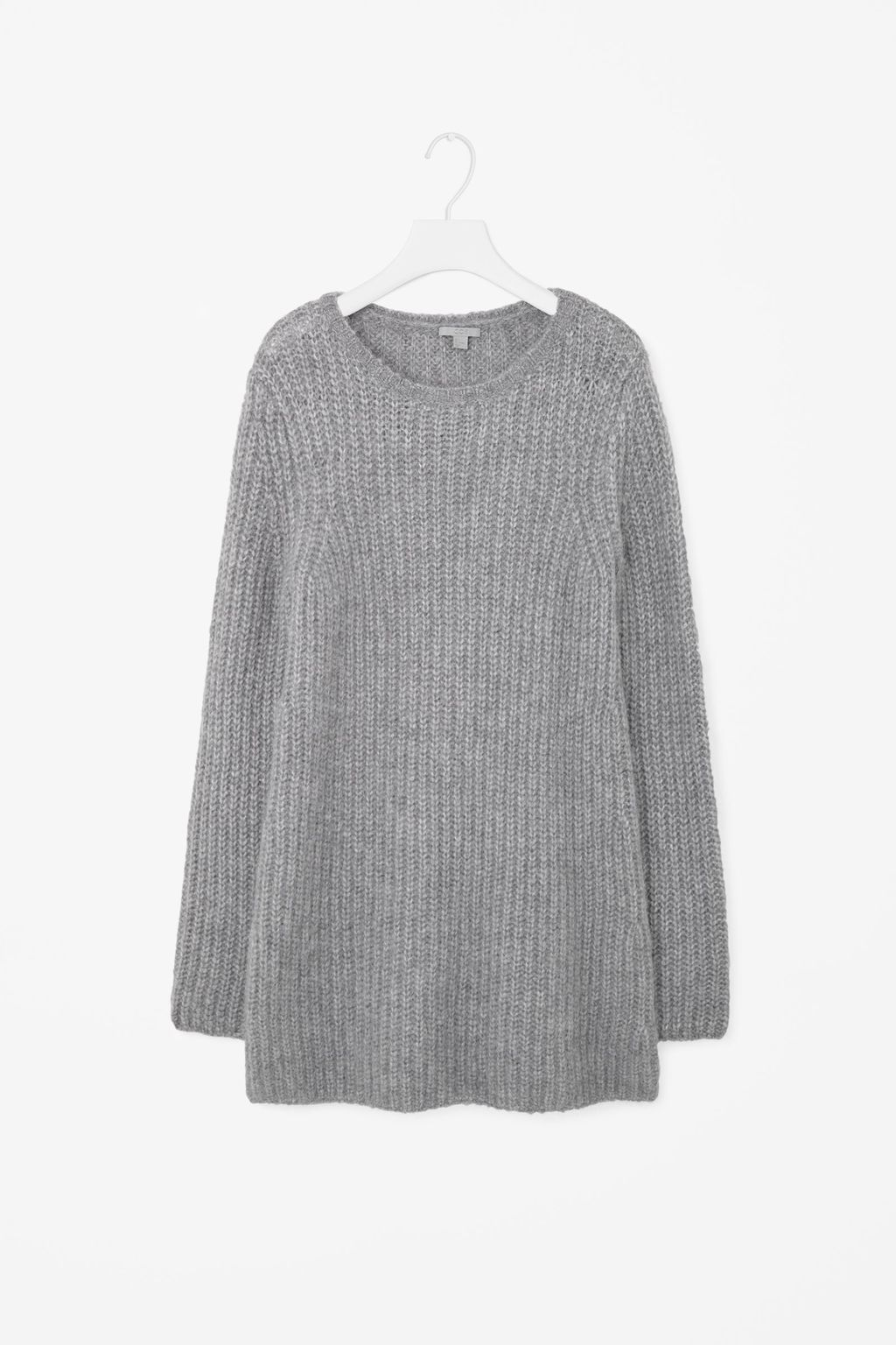 Long Knit Jumper - neckline: round neck; pattern: plain; length: below the bottom; style: tunic; predominant colour: mid grey; occasions: casual, creative work; fibres: wool - mix; fit: loose; sleeve length: long sleeve; sleeve style: standard; texture group: knits/crochet; pattern type: knitted - big stitch; season: a/w 2015; wardrobe: basic