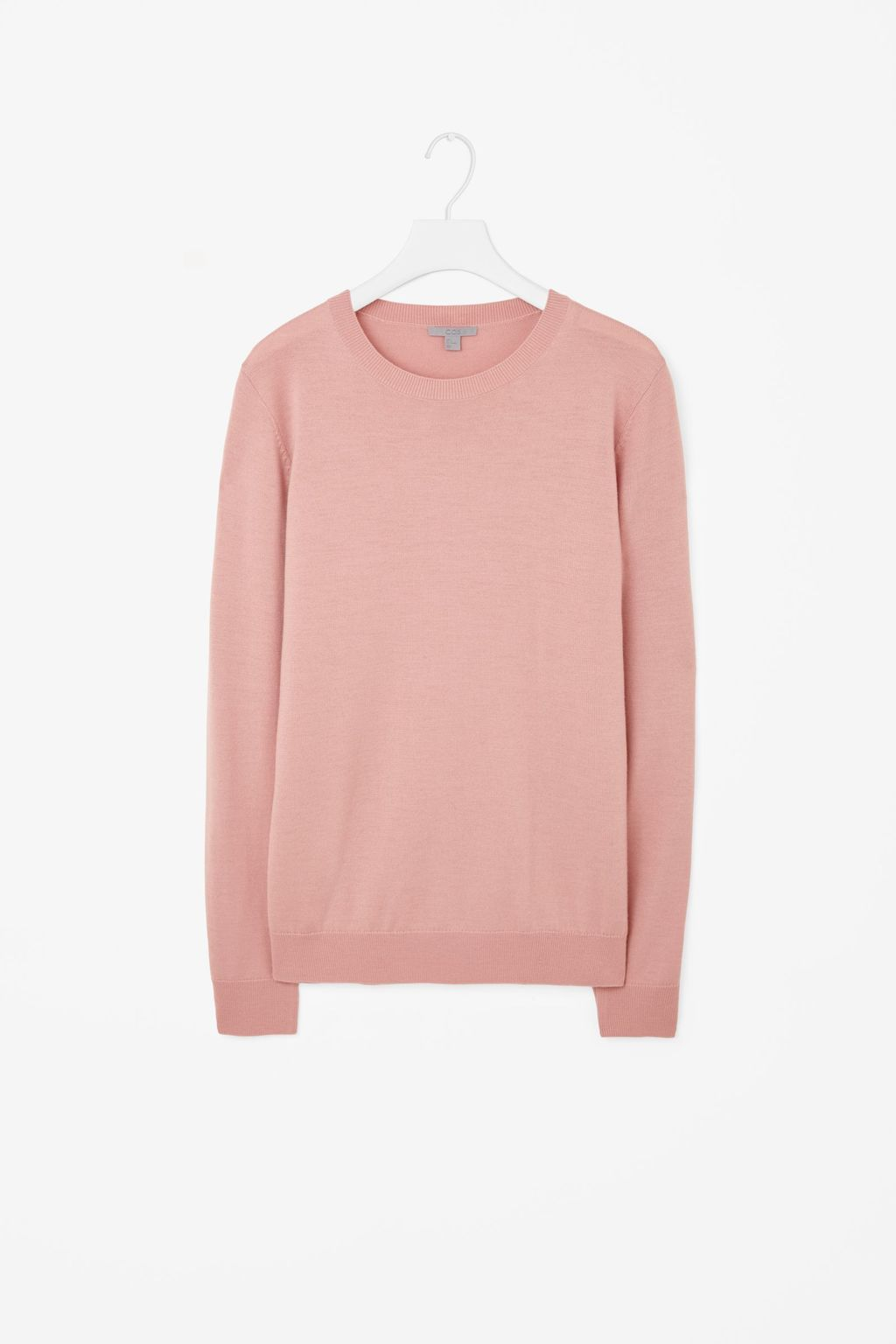 Round Neck Knit Jumper - pattern: plain; length: below the bottom; style: standard; predominant colour: pink; occasions: casual, creative work; fibres: wool - 100%; fit: loose; neckline: crew; sleeve length: long sleeve; sleeve style: standard; texture group: knits/crochet; pattern type: knitted - fine stitch; season: a/w 2015; wardrobe: highlight