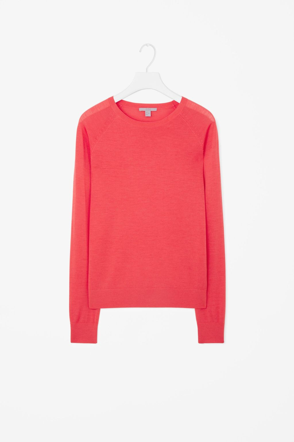 Round Neck Knit Jumper - pattern: plain; length: below the bottom; style: standard; predominant colour: hot pink; occasions: casual, creative work; fibres: wool - 100%; fit: loose; neckline: crew; sleeve length: long sleeve; sleeve style: standard; texture group: knits/crochet; pattern type: knitted - fine stitch; season: a/w 2015