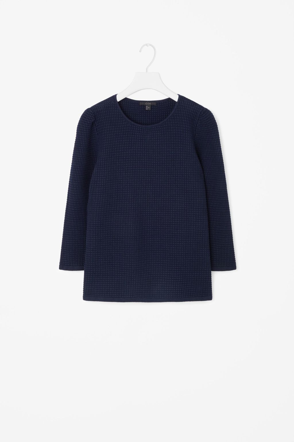 Raised Knit Jumper - pattern: plain; length: below the bottom; style: standard; predominant colour: navy; occasions: casual, creative work; fibres: cotton - 100%; fit: loose; neckline: crew; sleeve length: 3/4 length; sleeve style: standard; texture group: knits/crochet; pattern type: knitted - other; season: a/w 2015; wardrobe: basic