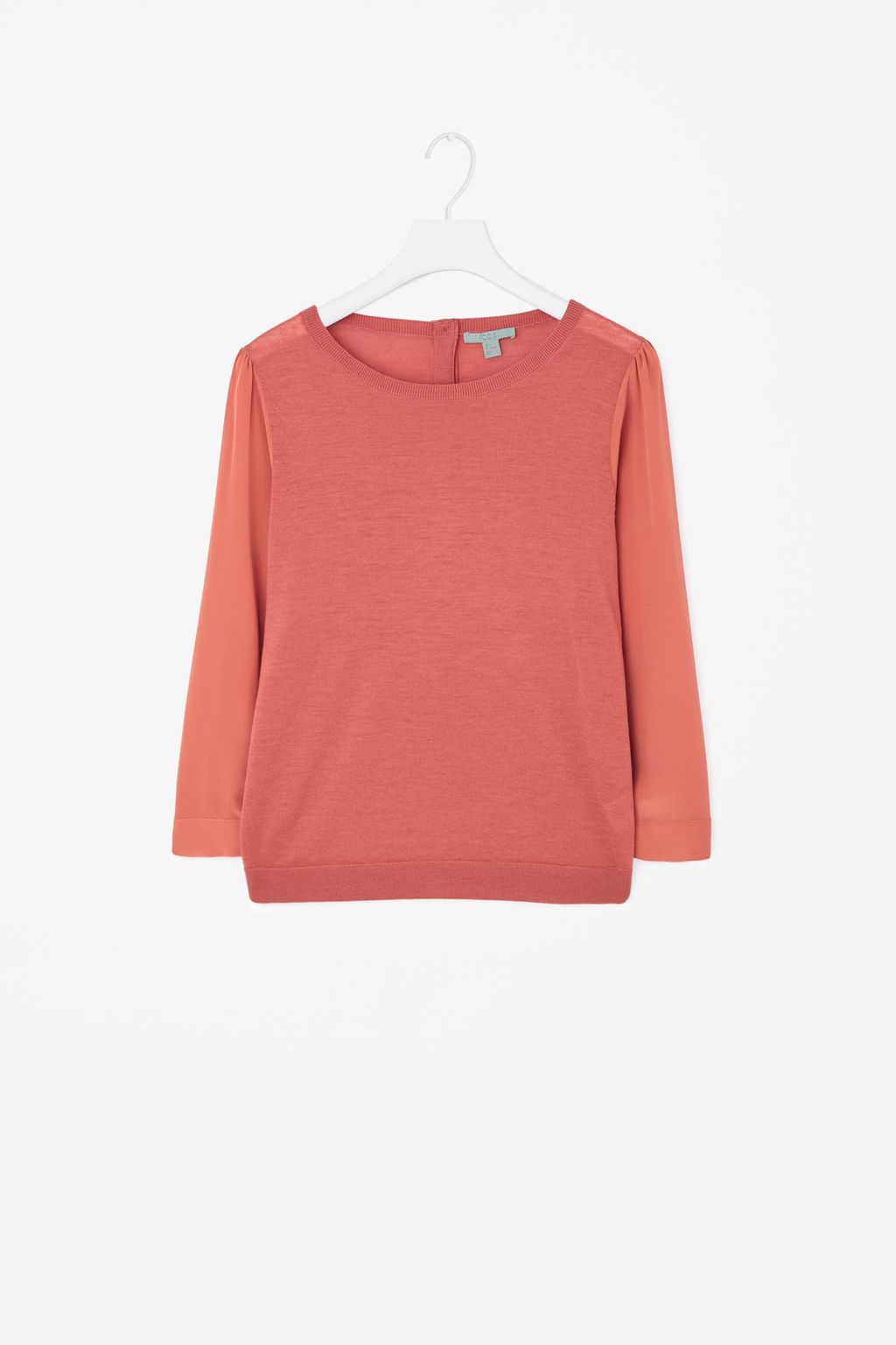 Silk Sleeve Jumper - pattern: plain; style: standard; predominant colour: pink; occasions: casual, creative work; length: standard; fibres: wool - 100%; fit: loose; neckline: crew; sleeve length: 3/4 length; sleeve style: standard; texture group: knits/crochet; pattern type: knitted - fine stitch; season: a/w 2015