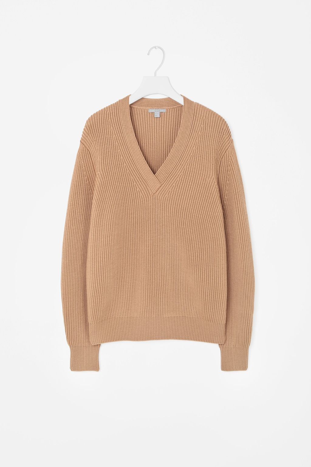 V Neck Ribbed Jumper - neckline: low v-neck; pattern: plain; length: below the bottom; style: standard; predominant colour: camel; occasions: casual, creative work; fibres: wool - 100%; fit: loose; sleeve length: long sleeve; sleeve style: standard; texture group: knits/crochet; pattern type: knitted - other; season: a/w 2015; wardrobe: basic