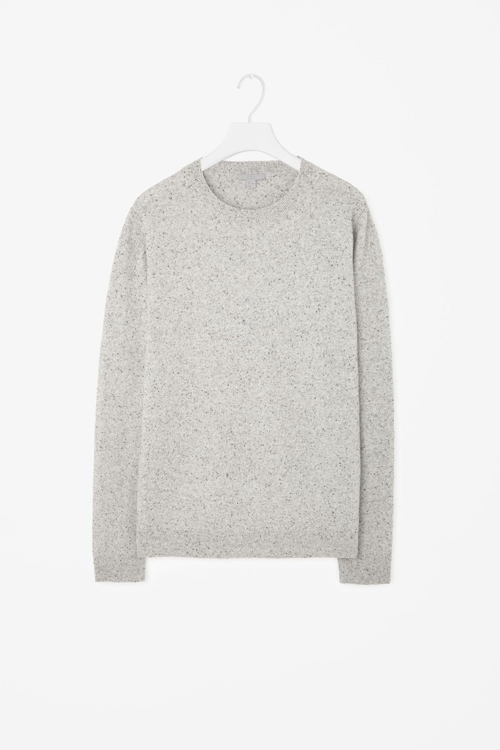Speckled Knit Jumper - pattern: plain; length: below the bottom; style: standard; predominant colour: light grey; occasions: casual, creative work; fibres: wool - 100%; fit: loose; neckline: crew; sleeve length: long sleeve; sleeve style: standard; texture group: knits/crochet; pattern type: knitted - fine stitch; season: a/w 2015; wardrobe: basic
