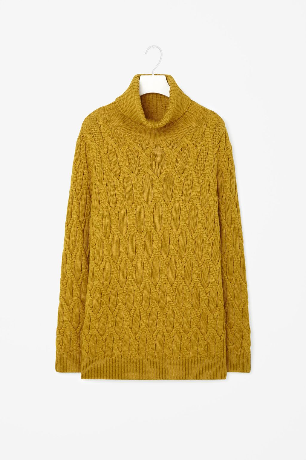 Roll Neck Cable Jumper - neckline: wide roll/funnel neck; length: below the bottom; style: standard; pattern: cable knit; predominant colour: mustard; occasions: casual, creative work; fibres: wool - 100%; fit: loose; sleeve length: long sleeve; sleeve style: standard; texture group: knits/crochet; pattern type: knitted - other; pattern size: standard; season: a/w 2015