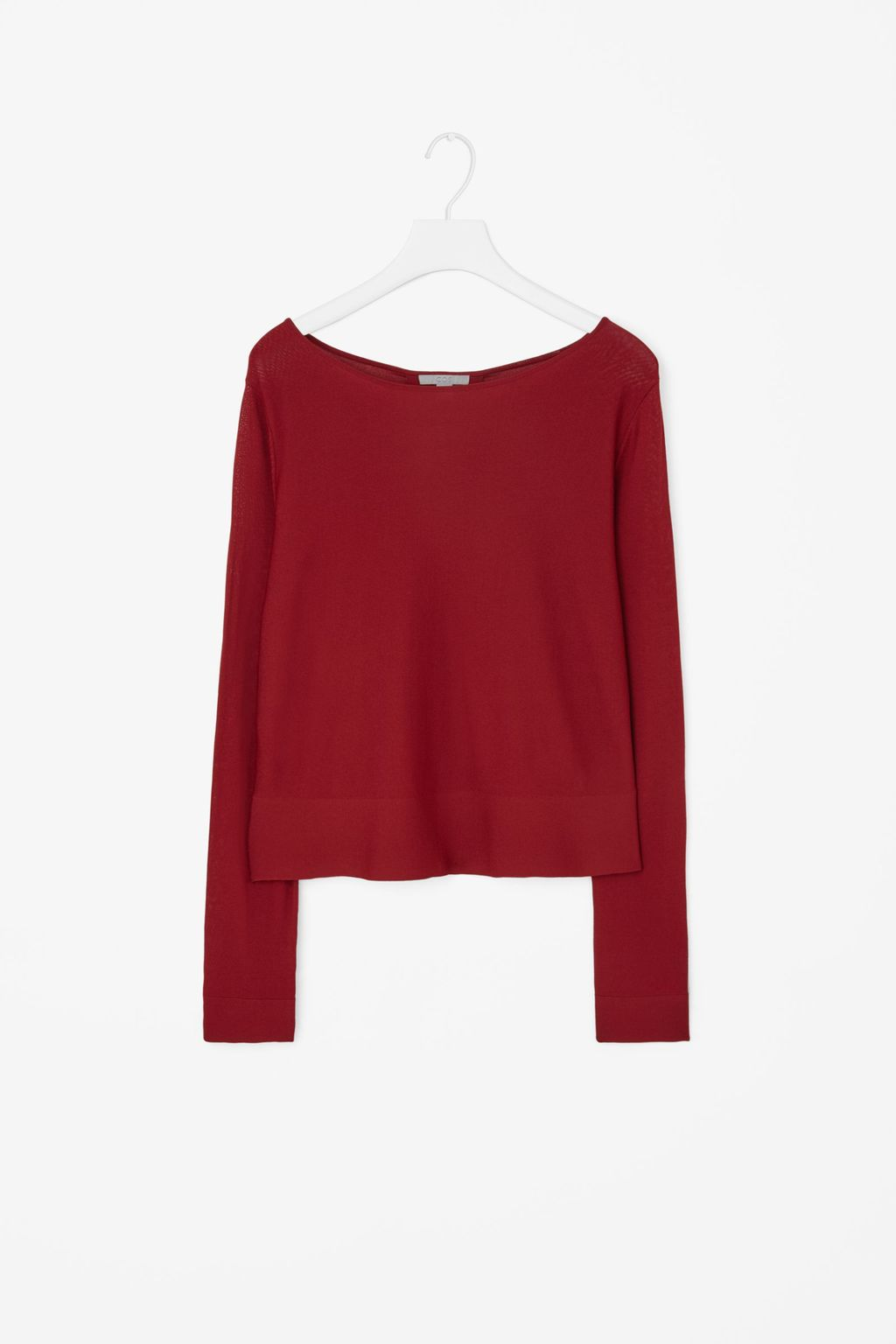 Fine Knit Cropped Jumper - neckline: slash/boat neckline; pattern: plain; style: standard; predominant colour: true red; occasions: casual, creative work; length: standard; fit: loose; sleeve length: long sleeve; sleeve style: standard; texture group: knits/crochet; pattern type: knitted - fine stitch; fibres: viscose/rayon - mix; season: a/w 2015; wardrobe: highlight
