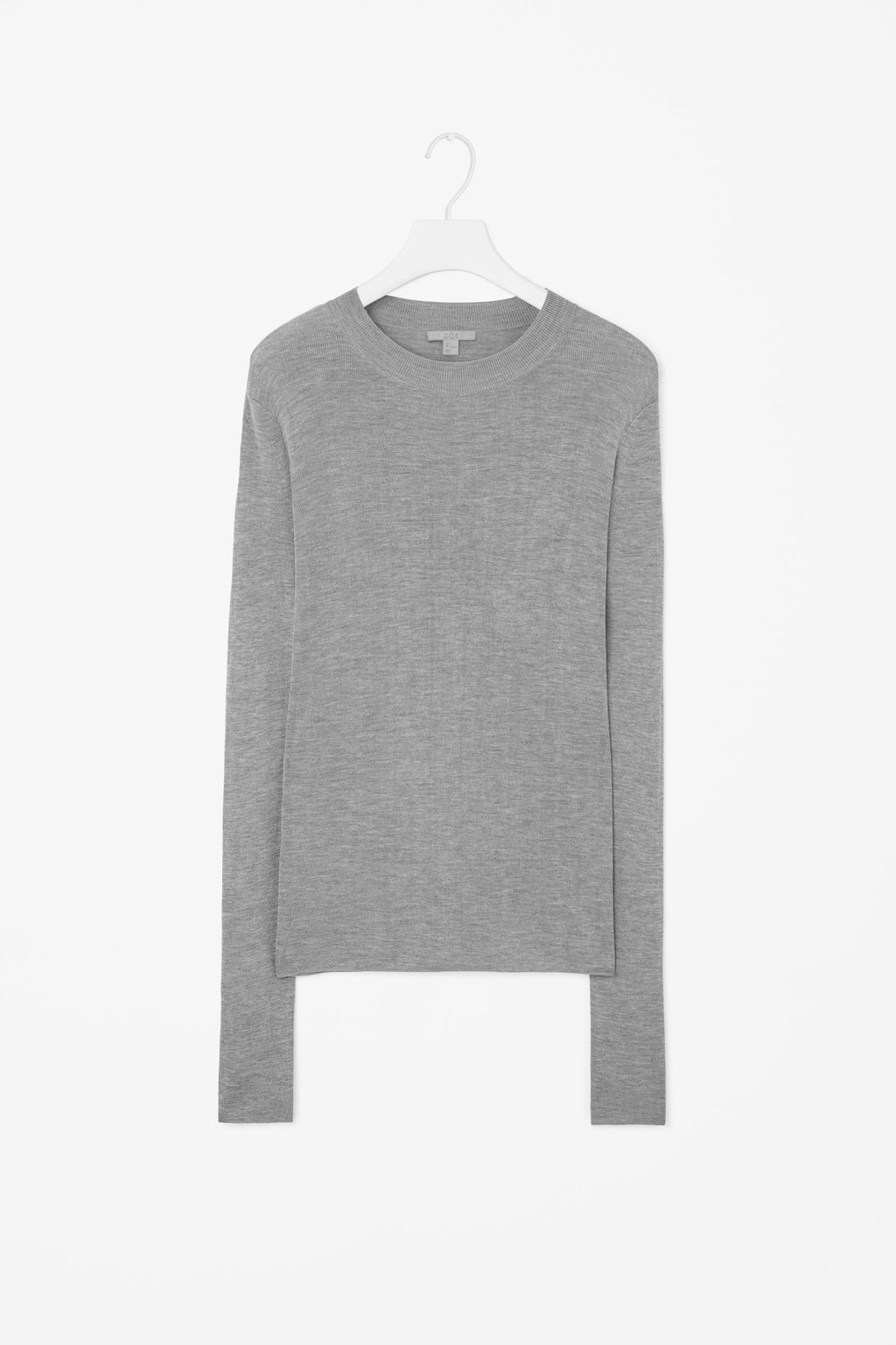 Silk Jumper - pattern: plain; length: below the bottom; style: standard; predominant colour: mid grey; occasions: casual, creative work; fibres: silk - 100%; fit: standard fit; neckline: crew; sleeve length: long sleeve; sleeve style: standard; texture group: knits/crochet; pattern type: knitted - fine stitch; season: a/w 2015; wardrobe: basic