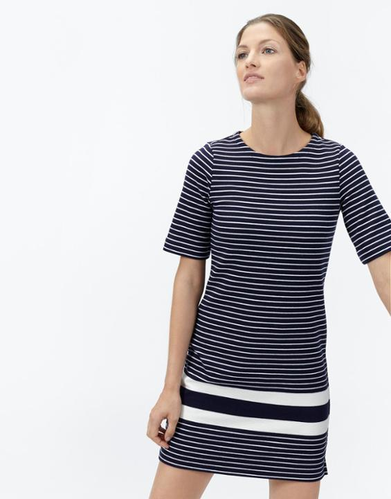 Marie Jersey Dress Soft Navy Stripe - style: shift; length: mid thigh; pattern: horizontal stripes; secondary colour: white; predominant colour: navy; occasions: casual; fit: body skimming; fibres: cotton - stretch; neckline: crew; sleeve length: half sleeve; sleeve style: standard; pattern type: fabric; pattern size: standard; texture group: jersey - stretchy/drapey; season: a/w 2015; wardrobe: basic