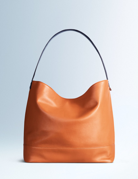 Fearne Slouchy Bag Tan/Navy Women Boden, Tan/Navy - predominant colour: tan; occasions: casual, creative work; type of pattern: standard; length: hand carry; size: standard; material: leather; pattern: plain; finish: plain; style: hobo; season: a/w 2015; wardrobe: highlight