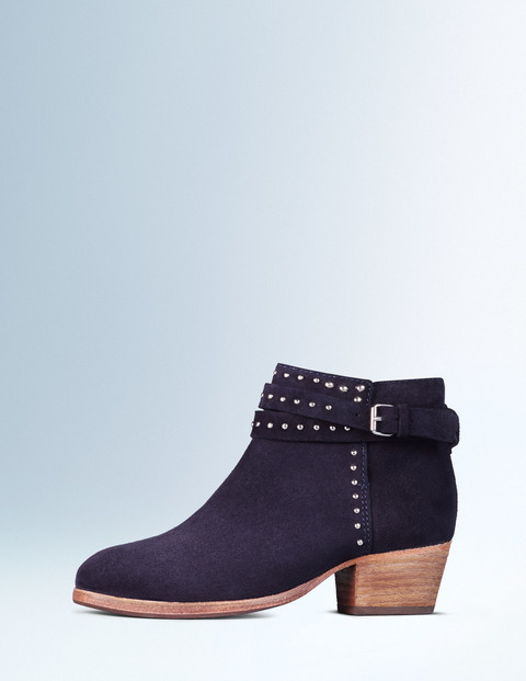 Keira Stud Ankle Boot Navy Women, Navy - predominant colour: navy; occasions: casual, creative work; material: suede; heel height: mid; embellishment: studs; heel: block; toe: pointed toe; boot length: ankle boot; style: standard; finish: plain; pattern: plain; season: a/w 2015; wardrobe: highlight
