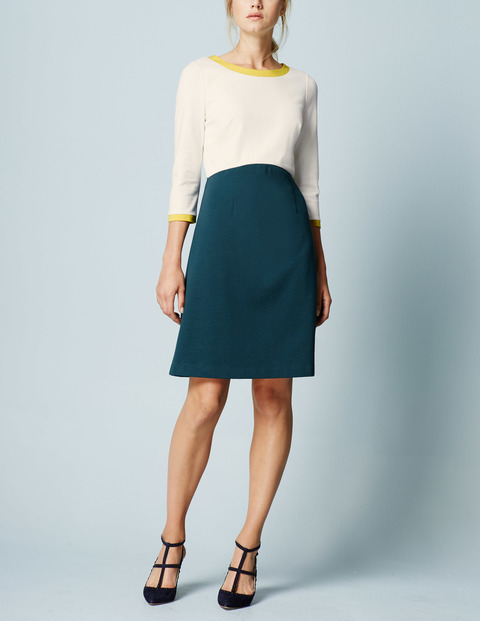Louise Ponte Work Dress Ivory/Mallard Green Women, Ivory/Mallard Green - style: shift; neckline: round neck; fit: tailored/fitted; predominant colour: ivory/cream; secondary colour: dark green; length: just above the knee; fibres: cotton - mix; occasions: occasion; sleeve length: 3/4 length; sleeve style: standard; pattern type: fabric; pattern: colourblock; texture group: other - light to midweight; season: a/w 2015; wardrobe: event; embellishment: contrast fabric; embellishment location: bust