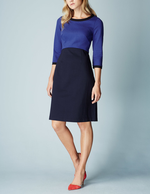 Louise Ponte Work Dress Renaissance Blue/Navy Women, Renaissance Blue/Navy - style: shift; neckline: round neck; fit: tailored/fitted; waist detail: fitted waist; predominant colour: royal blue; secondary colour: navy; length: just above the knee; fibres: cotton - stretch; occasions: occasion; sleeve length: 3/4 length; sleeve style: standard; pattern type: fabric; pattern: colourblock; texture group: other - light to midweight; season: a/w 2015; wardrobe: event