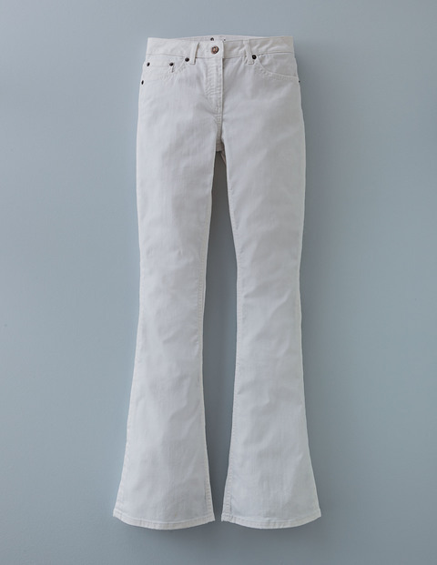 Slim Flare Jean Ecru Women, Ecru - style: flares; length: standard; pattern: plain; pocket detail: traditional 5 pocket; waist: mid/regular rise; predominant colour: ivory/cream; occasions: casual; fibres: cotton - stretch; texture group: denim; pattern type: fabric; season: a/w 2015; wardrobe: highlight