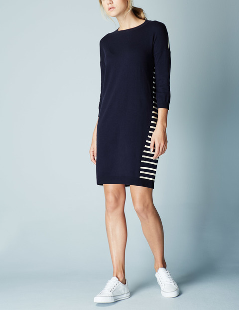 Everyday Knitted Tunic Dress Navy/Ivory Women, Navy/Ivory - style: jumper dress; pattern: horizontal stripes; secondary colour: white; predominant colour: navy; occasions: casual; length: just above the knee; fit: body skimming; fibres: wool - mix; neckline: crew; sleeve length: 3/4 length; sleeve style: standard; texture group: knits/crochet; pattern type: fabric; multicoloured: multicoloured; season: a/w 2015; wardrobe: basic