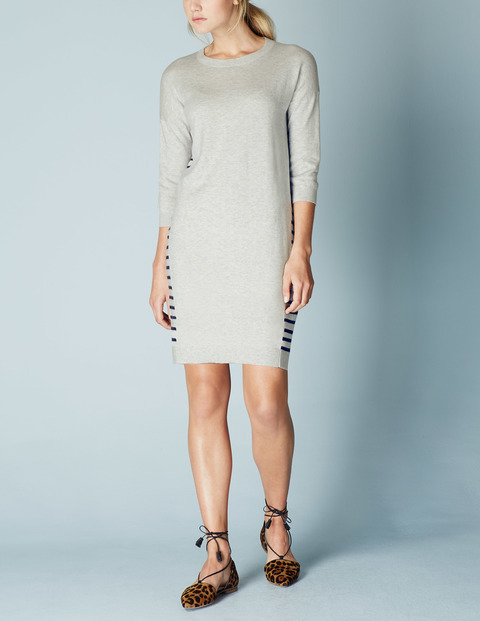 Everyday Knitted Tunic Dress Silver Melange/Navy Stripe Women, Silver Melange/Navy Stripe - style: shift; pattern: horizontal stripes; predominant colour: light grey; occasions: casual; length: just above the knee; fit: body skimming; fibres: wool - mix; neckline: crew; sleeve length: 3/4 length; sleeve style: standard; texture group: knits/crochet; pattern type: fabric; season: a/w 2015; wardrobe: basic