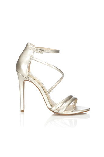 Gold Asymmetric Sandals - predominant colour: gold; occasions: evening, occasion; material: suede; heel height: high; heel: stiletto; toe: open toe/peeptoe; style: strappy; finish: plain; pattern: plain; season: a/w 2015; wardrobe: event