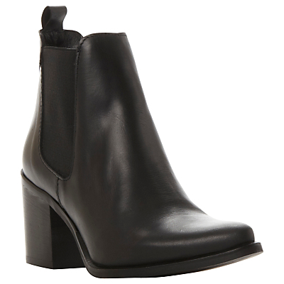 Piero Block Heeled Ankle Boots - predominant colour: black; occasions: casual, creative work; material: leather; heel height: high; heel: block; toe: round toe; boot length: ankle boot; finish: plain; pattern: plain; style: chelsea; season: a/w 2015; wardrobe: highlight