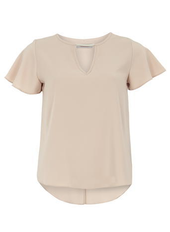 Womens Petite Blush Metal Bar Top Pink - pattern: plain; predominant colour: nude; occasions: casual; length: standard; style: top; neckline: collarstand & mandarin with v-neck; fibres: polyester/polyamide - stretch; fit: body skimming; back detail: longer hem at back than at front; sleeve length: short sleeve; sleeve style: standard; pattern type: fabric; texture group: other - light to midweight; season: a/w 2015; wardrobe: basic