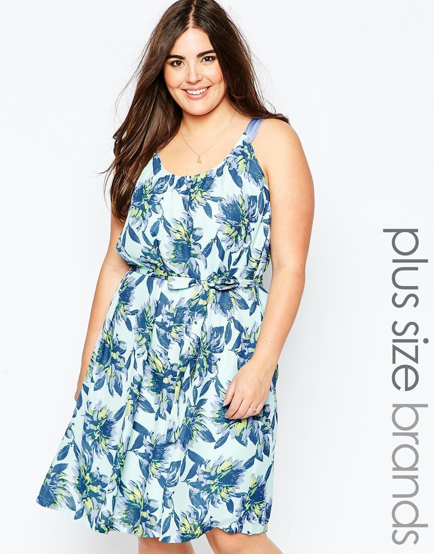 Dress In Tropical Flower Print Aop - neckline: round neck; sleeve style: spaghetti straps; fit: fitted at waist; style: sundress; secondary colour: pale blue; predominant colour: turquoise; occasions: casual; length: on the knee; fibres: polyester/polyamide - 100%; sleeve length: sleeveless; pattern type: fabric; pattern: florals; texture group: other - light to midweight; season: a/w 2015; wardrobe: highlight