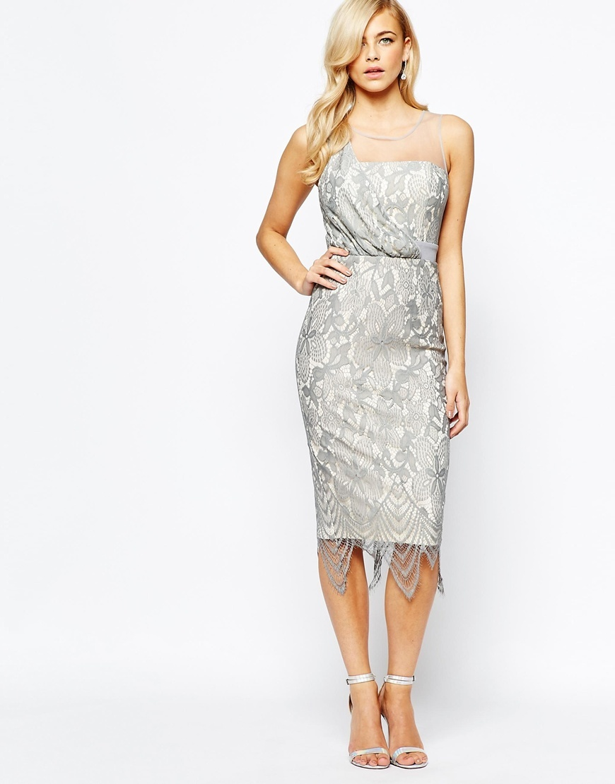 All Over Lace Midi Dress With Scallop Hem Silver - style: shift; length: below the knee; pattern: plain; sleeve style: strapless; predominant colour: silver; occasions: evening; fit: body skimming; fibres: nylon - 100%; sleeve length: sleeveless; texture group: lace; neckline: low square neck; pattern type: fabric; season: a/w 2015; wardrobe: event