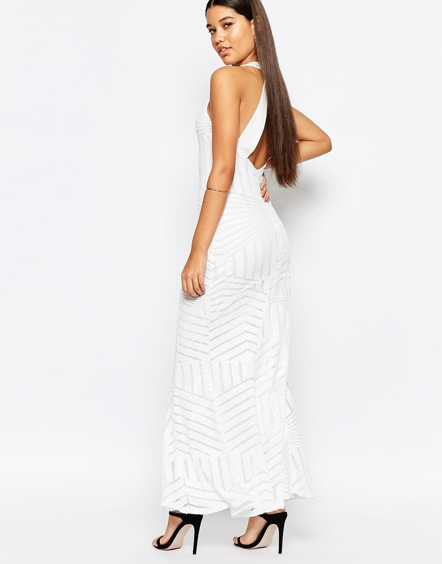 Geo Sequin Fishtail Maxi Dress With Open Back Detail White - pattern: plain; sleeve style: sleeveless; style: maxi dress; neckline: low halter neck; predominant colour: white; occasions: evening; length: floor length; fit: body skimming; fibres: polyester/polyamide - 100%; sleeve length: sleeveless; pattern type: fabric; texture group: jersey - stretchy/drapey; embellishment: sequins; season: a/w 2015