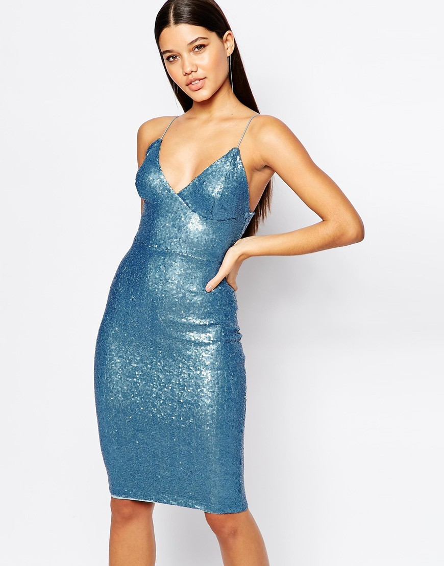 Sequin Cami Dress Pale Blue Sequin - neckline: v-neck; sleeve style: spaghetti straps; fit: tight; pattern: plain; style: bodycon; predominant colour: turquoise; occasions: evening; length: on the knee; fibres: polyester/polyamide - 100%; sleeve length: sleeveless; texture group: jersey - clingy; pattern type: fabric; embellishment: sequins; season: a/w 2015; wardrobe: event