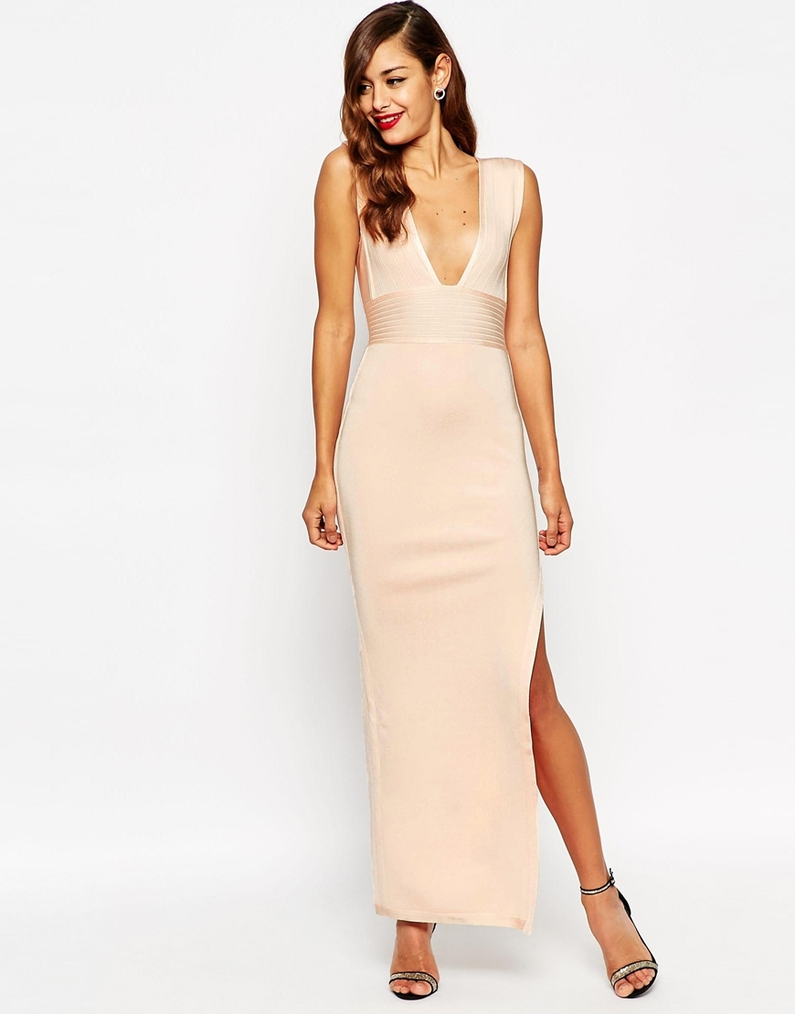 Red Carpet Sculpt Premium Bandage Ultra Plunge Maxi Dress Nude - neckline: plunge; pattern: plain; sleeve style: sleeveless; style: maxi dress; length: ankle length; hip detail: draws attention to hips; predominant colour: blush; occasions: evening; fit: body skimming; fibres: polyester/polyamide - stretch; sleeve length: sleeveless; texture group: jersey - clingy; pattern type: fabric; season: a/w 2015; trends: pink aw 15; wardrobe: event