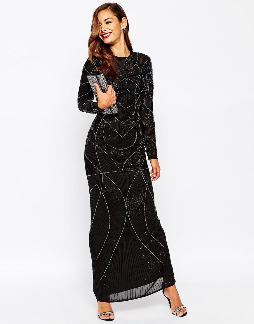 Red Carpet Delicate 20s Beaded Long Sleeve Maxi Dress Black - style: maxi dress; length: ankle length; secondary colour: silver; predominant colour: black; occasions: evening; fit: body skimming; fibres: polyester/polyamide - 100%; neckline: crew; sleeve length: long sleeve; sleeve style: standard; texture group: sheer fabrics/chiffon/organza etc.; pattern type: fabric; pattern size: standard; pattern: patterned/print; embellishment: beading; season: a/w 2015; wardrobe: event