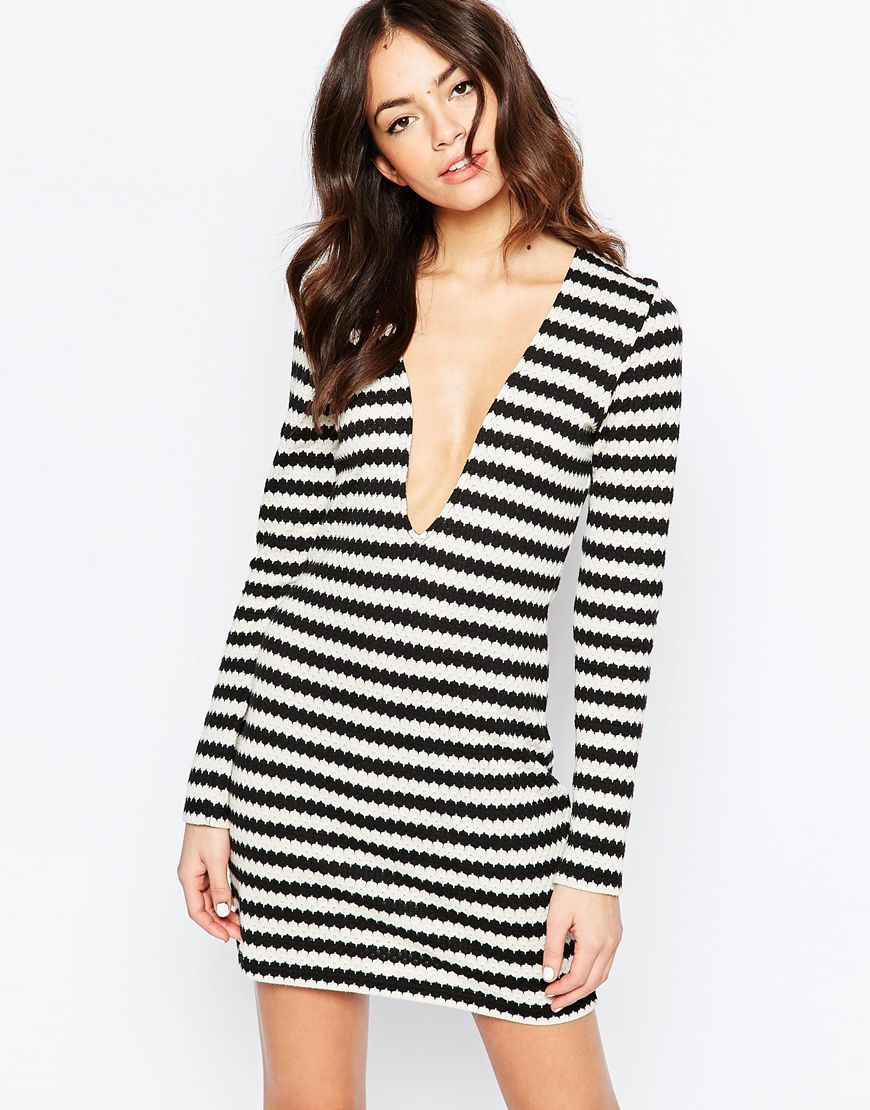 Retro Knit Stripe Shift Dress With Plunge V Neck Multi Stripe - length: mini; neckline: plunge; fit: tight; pattern: horizontal stripes; style: bodycon; hip detail: draws attention to hips; secondary colour: white; predominant colour: black; occasions: evening; fibres: polyester/polyamide - stretch; sleeve length: long sleeve; sleeve style: standard; trends: monochrome; texture group: jersey - clingy; pattern type: fabric; pattern size: standard; season: a/w 2015; wardrobe: event