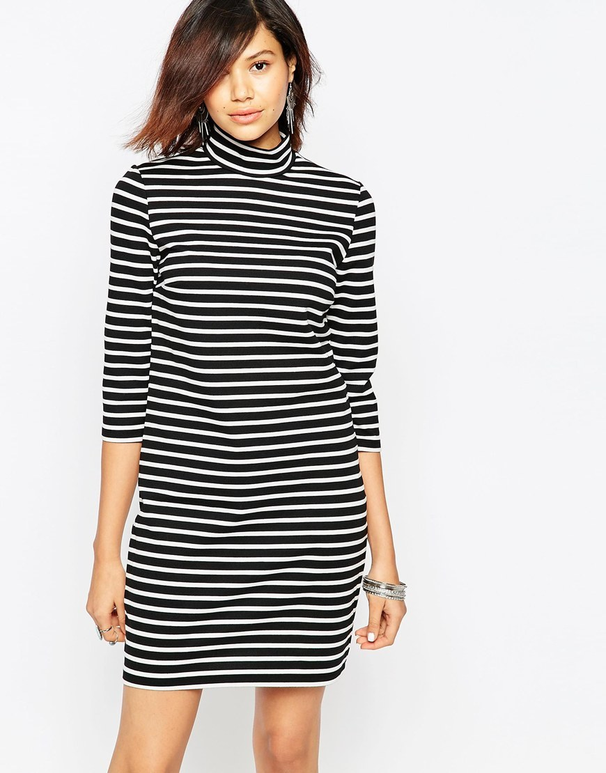 3/4 Sleeve High Neck Striped Dress Black/Cloud Dancer - style: t-shirt; length: mid thigh; pattern: horizontal stripes; neckline: high neck; secondary colour: white; predominant colour: black; occasions: casual; fit: body skimming; fibres: polyester/polyamide - stretch; sleeve length: 3/4 length; sleeve style: standard; trends: monochrome; pattern type: fabric; texture group: jersey - stretchy/drapey; season: a/w 2015; wardrobe: basic