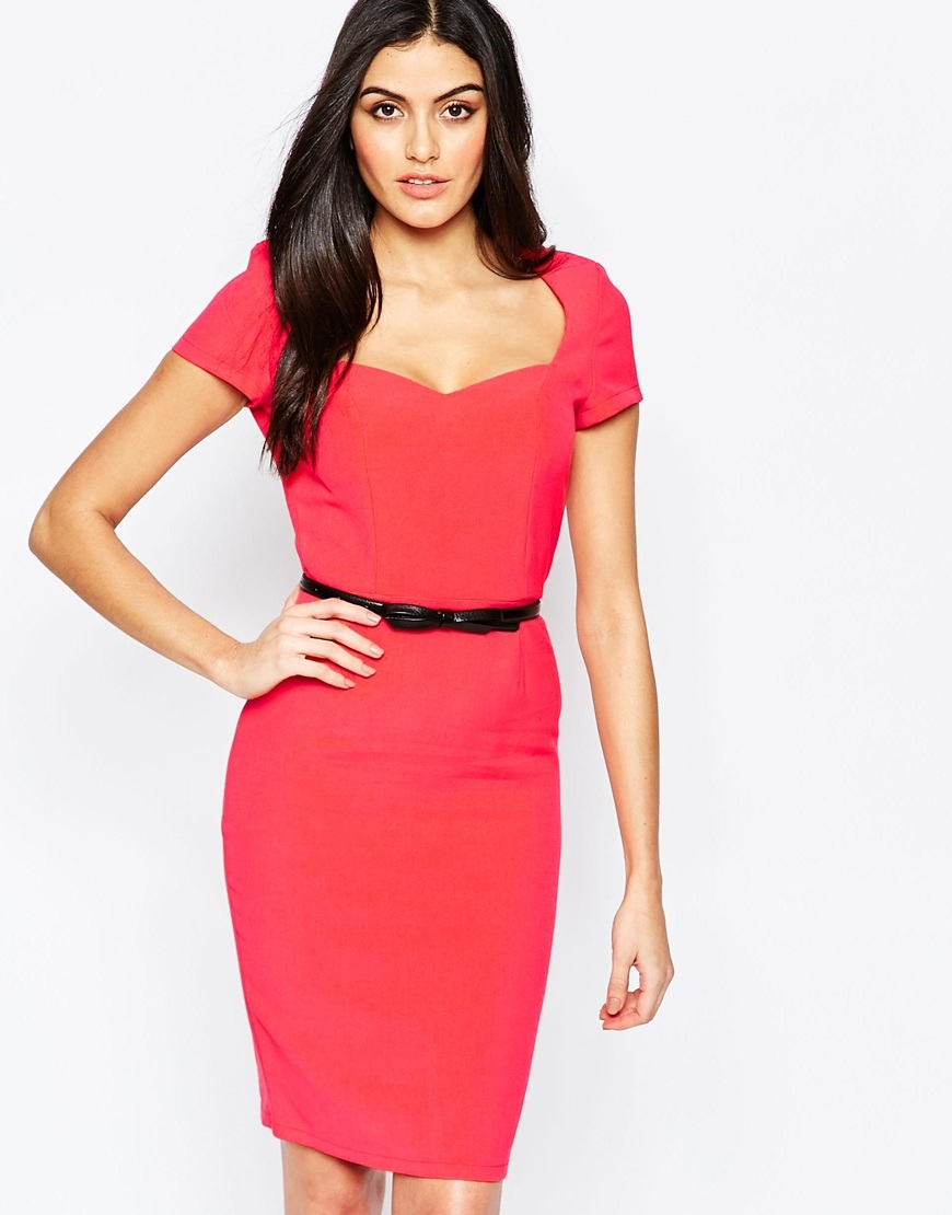 Belted Pencil Dress Red - fit: tailored/fitted; pattern: plain; style: bodycon; neckline: sweetheart; waist detail: belted waist/tie at waist/drawstring; predominant colour: true red; length: on the knee; fibres: polyester/polyamide - 100%; occasions: occasion; sleeve length: short sleeve; sleeve style: standard; texture group: jersey - clingy; pattern type: fabric; season: a/w 2015; wardrobe: event
