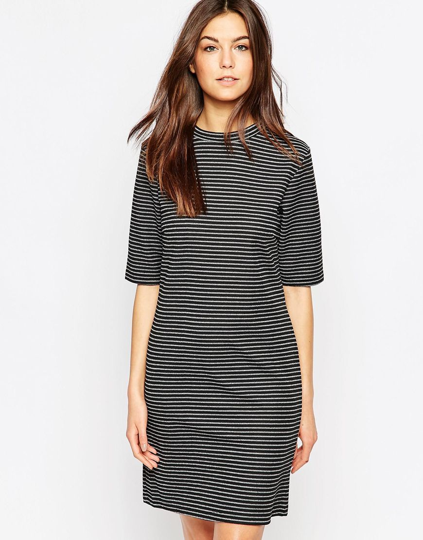 High Neck Short Sleeve Striped Dress Black/White - style: t-shirt; length: mid thigh; pattern: striped; secondary colour: white; predominant colour: black; occasions: casual; fit: body skimming; fibres: cotton - stretch; neckline: crew; sleeve length: half sleeve; sleeve style: standard; trends: monochrome; pattern type: fabric; texture group: jersey - stretchy/drapey; season: a/w 2015; wardrobe: highlight