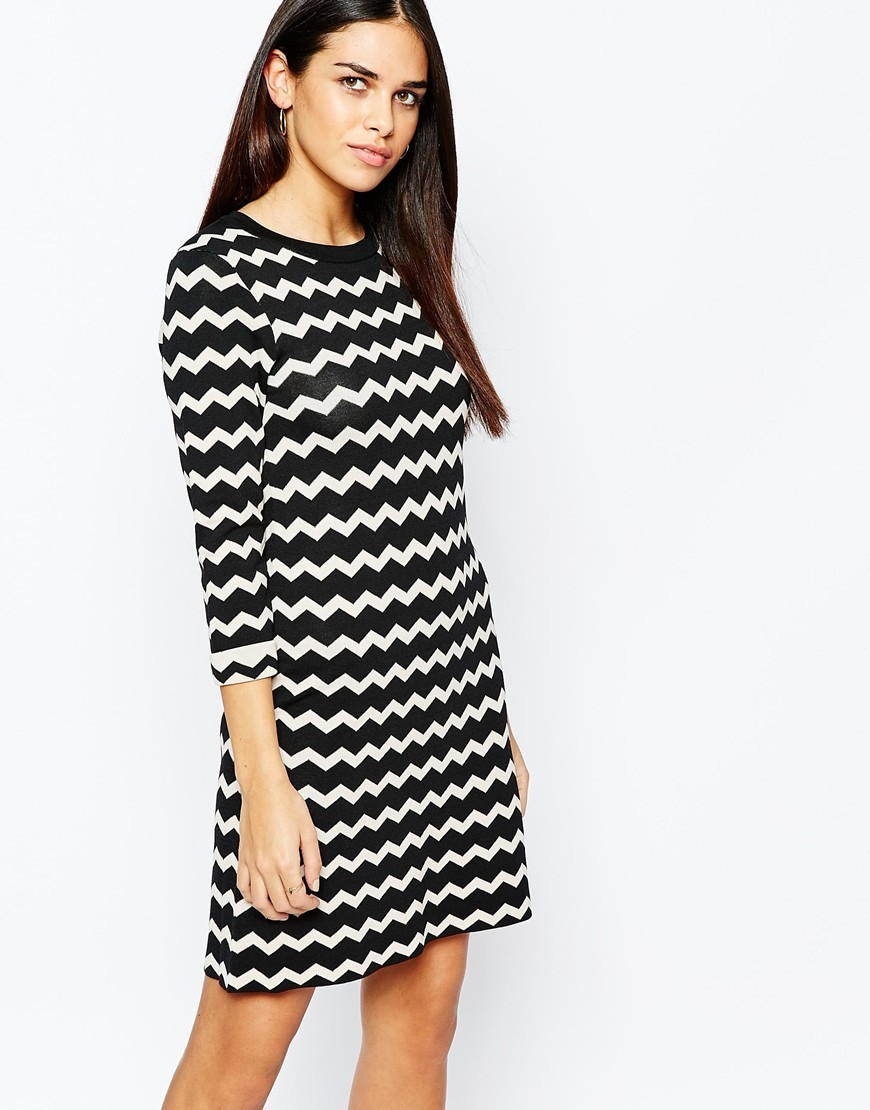 Chevron Dress Multi - style: jumper dress; secondary colour: white; predominant colour: black; occasions: casual; length: just above the knee; fit: body skimming; fibres: polyester/polyamide - stretch; neckline: crew; sleeve length: 3/4 length; sleeve style: standard; trends: monochrome; texture group: knits/crochet; pattern type: knitted - fine stitch; pattern size: standard; pattern: patterned/print; season: a/w 2015; wardrobe: highlight