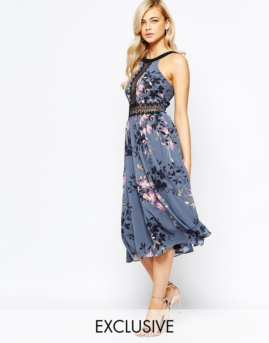High Neck Midi Dress With Lace Insert Grey Floral - length: calf length; neckline: round neck; fit: fitted at waist; sleeve style: sleeveless; waist detail: embellishment at waist/feature waistband; secondary colour: pink; predominant colour: denim; style: fit & flare; fibres: polyester/polyamide - 100%; occasions: occasion; sleeve length: sleeveless; pattern type: fabric; pattern: patterned/print; texture group: other - light to midweight; embellishment: lace; season: a/w 2015; wardrobe: event
