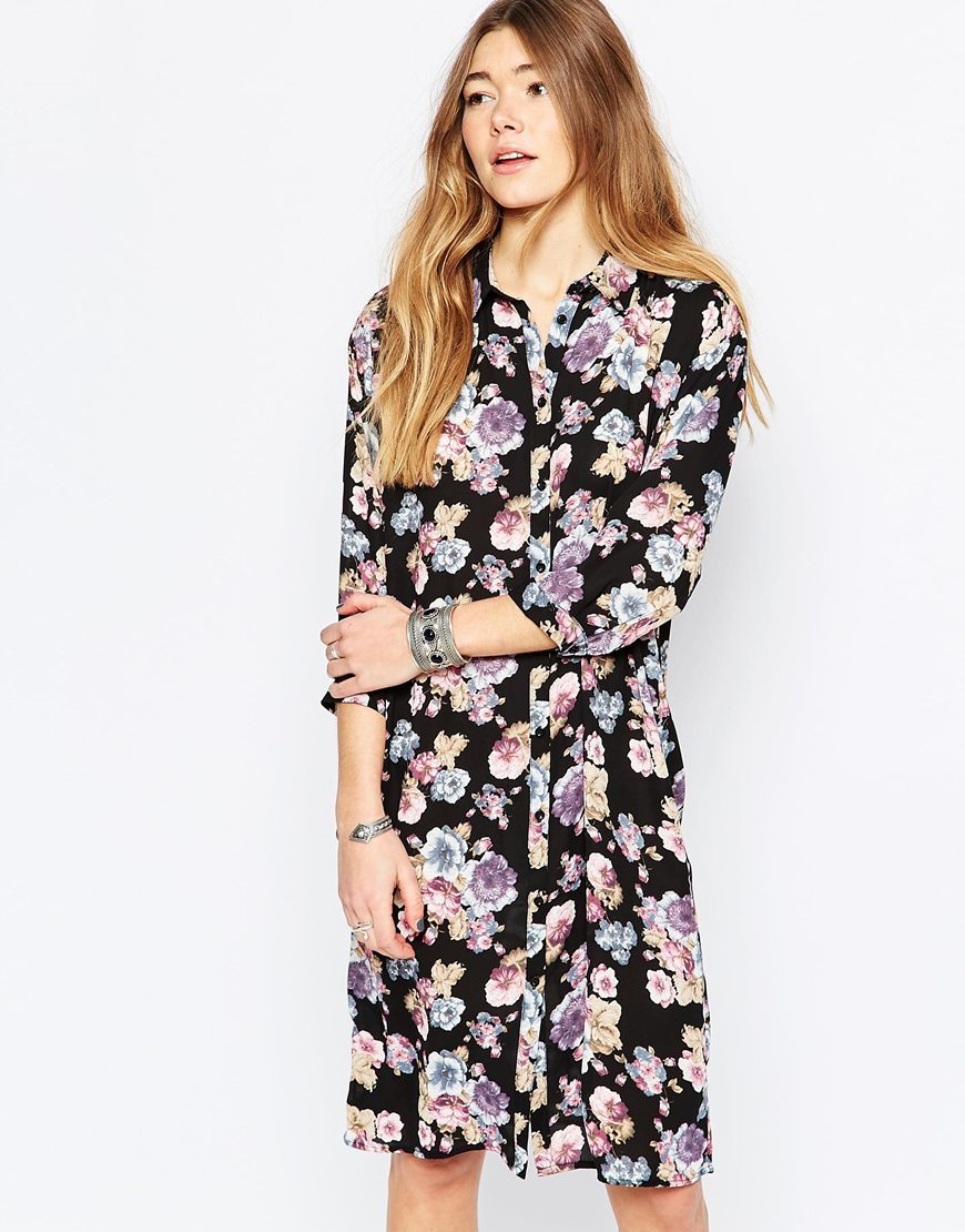 Floral Midi Shirt Dress Black - style: shirt; fit: loose; secondary colour: pink; predominant colour: black; occasions: casual, creative work; length: on the knee; neckline: collarstand; fibres: polyester/polyamide - 100%; sleeve length: 3/4 length; sleeve style: standard; pattern type: fabric; pattern: florals; texture group: other - light to midweight; multicoloured: multicoloured; season: a/w 2015; wardrobe: highlight