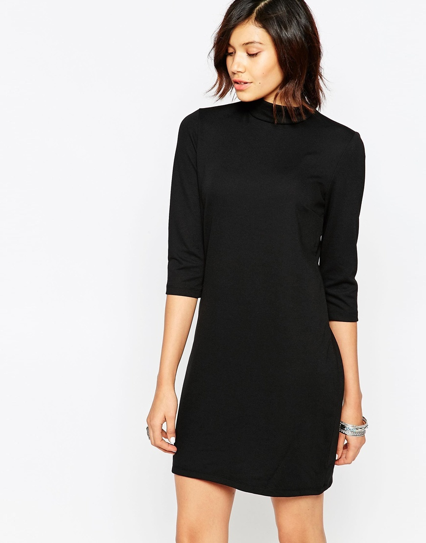 3/4 Sleeve High Neck Striped Dress Black - style: t-shirt; length: mid thigh; pattern: plain; neckline: high neck; hip detail: fitted at hip; predominant colour: black; occasions: evening; fit: body skimming; fibres: polyester/polyamide - stretch; sleeve length: 3/4 length; sleeve style: standard; texture group: jersey - clingy; pattern type: fabric; season: a/w 2015